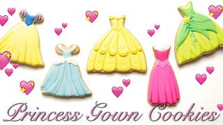 Download PRINCESS GOWN COOKIES! Inspired by CINDERELLA, TIANA, BELLE, and more! Video