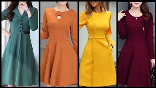Download designer skater dresses design collection 2020 plain fabric frocks style for college and office girl Video