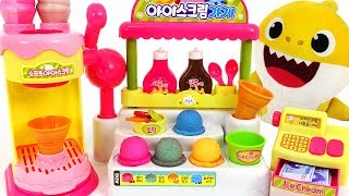 Download Baby Shark Syrup Ice cream shop play~! Let's make Color Changing Ice cream! | PinkyPopTOY Video