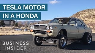 Download What Happens When You Put A Tesla Motor In An Old Honda? Video