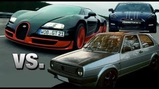 Download 16Vampir VW Golf 2 AWD vs Bugatti Veyron Super Sport vs AMS Nissan GTR Alpha 12+ Video