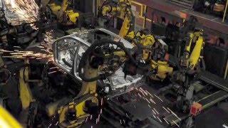 Download Car Factory production line - robots welding bodies Video