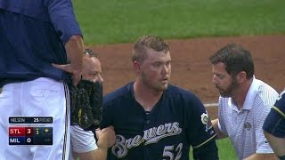 Download STL@MIL: Nelson hit in head by liner, exits in 3rd Video
