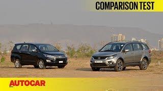 Download Tata Hexa vs Toyota Innova Crysta | Comparison Test | Autocar India Video
