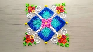 Download Unique creative color combination beautiful square rangoli design in simple method by Jyoti Rathod Video