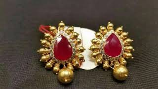 Download Latest Gold Stud Earrings Designs With Weight | Latest EarTops For Regular Use Video