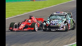 Download Ferrari F1 2018 vs Ford Fiesta Ken Block - Monza Video