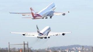 Download Brisbane Airport: Emirates A380-800 vs. Qantas 747-400ER Video