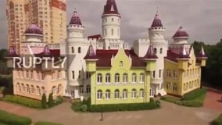 Download A kingdom for kids – Drone captures pre-school resembling medieval castle Video