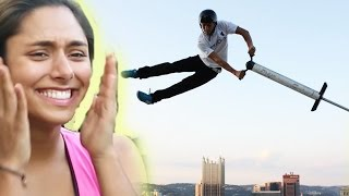 Download Women Try Extreme Pogo Sticking Video