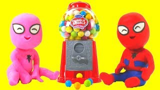Download SPIDERMAN BABIES & GUMBALL MACHINE ❤ Hulk Superhero & Frozen Elsa Play Doh Cartoons For Kids Video