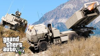 Download GTA 5 Military Patrol   US Marine Corps M142 HIMARS Artillery Unit Striking Enemy Base With Missiles Video