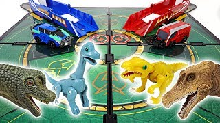 Download Dino Mecard tiny dinosaur duel in battlefield! Capture car, shooter, Mega tyranno! - DuDuPopTOY Video