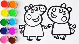 Download Como Dibujar y Colorear a Peppa Pig y a Su Amiga Susy Oveja - Colores Para Niños / FunKeep Video