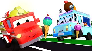 Download The ice cream truck with Tiny Town: Learning with Street Vehicles Ambulance Police Car Fire truck Video