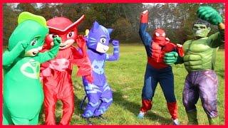 Download PJ Masks Heroes In Real Life Turns Into Batman Smurfs Boss Baby Villain Steals Hero IRL Video