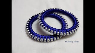 Download DIY// How to do silk thread Pearl Bangles Video
