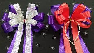 Download สอนทำโบว์ริบบิ้นแบบ3หูมี2ชั้น DIY ริบบิ้นติดของขวัญ/ช่อดอกไม้ How to make a gift bow. Video