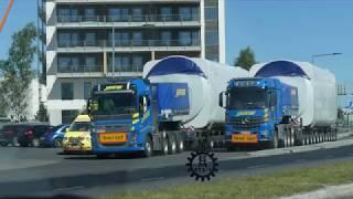 Download Heavy haulage - Havator Volvo FH16-750 & Mercedes-Benz Arocs MP4 Wind turbine transports Video
