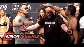 Download Tony Ferguson and Kevin Lee Separated at UFC 216 Ceremonial Weigh-in Video