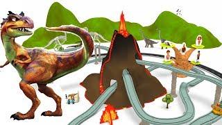 Download Dinosaur cartoon - Dinosaur for children - JURASSIC park - Toy Train for kids - Cartoons Video