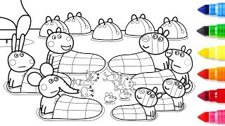 Download Peppa Pig Friends Together Coloring Pages - Peppa Coloring Book - Learning Drawing Videos For Kids Video