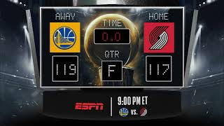 Download Warriors @ Trail Blazers LIVE Scoreboard - Join the conversation & catch all the action on ESPN! Video