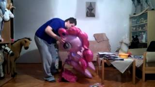 Download Mylar airwalker balloon inflation with helium ( Pinky Pie pony , horse) part one Video