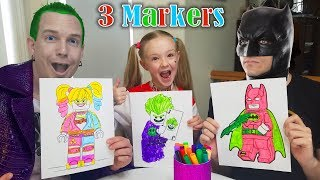 Download Hilarious WRONG MARKER CHALLENGE 3 LEGO Characters!!! Batman, Harley Quinn, & Joker!!! Video