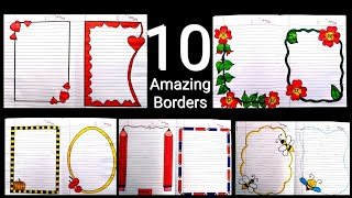 Download 10 Beautiful borders for projects handmade| simple border designs| Notebook border designs| rulled Video