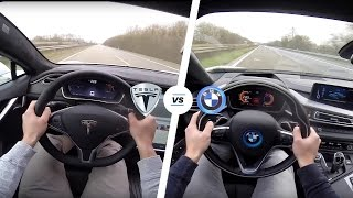 Download Tesla Model S P90D LUDICROUS vs BMW i8 Acceleration & TOP SPEED POV Autobahn Video