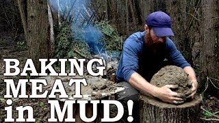 Download Baking Wild MEAT in MUD | Strange Ancient Cooking Technique! | Handdrill, Knotweed, Burdock, Leeks Video