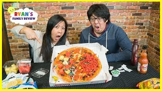 Download Pizza Challenge Mommy vs Daddy with Spicy Hot Cheetos and Extreme Sour Candy Video