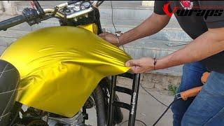 Download Royal Enfield Vinyl Wrapping Yellow Satin Chrome | Bullet Modification | Vwraps Sikar | Video
