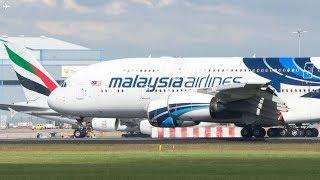 Download Summer Planespotting at Manchester Airport- Mid Morning Traffic Runway 23R- Malaysian A380 Video