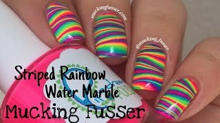 Download Striped Rainbow Water Marble Nail Art Tutorial Video