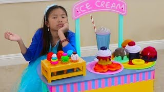 Download Wendy Pretend Play Selling WOODEN Ice Cream at Her Toy Cart Store Video