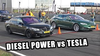 Download Diesel Power! BMW 535D vs Tesla Model S Shooting Brake Video