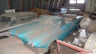 Download AMAZING Edsel Barn Find, Rare Cars Parked and Left. 1958 Pacer Convertible, Rangers, Dodge Charger Video