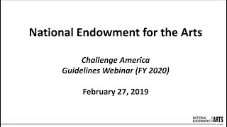 Download Challenge America Guidelines Workshop February 2019 Video