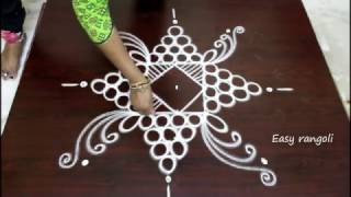 Download rangoli designs for diwali with 5 to 1 straight dots- muggulu designs with dots- simple kolam Video