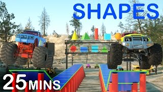 Download Learn 2D and 3D Shapes And Race Monster Trucks - TOYS (FULL CARTOON) | Videos For Children Video