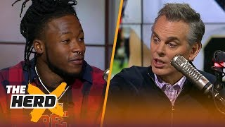 Download Alvin Kamara takes Colin inside the Saints locker room after playoff loss to Vikings | THE HERD Video