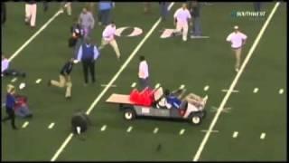 Download Runaway Electric Cart Strikes Coach & Media at Cowboy Stadium Video