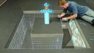 Download Minecraft Diamond Sword 3D Chalk Art - AWE me Artist Series Video