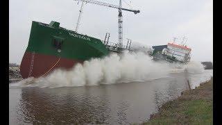 Download 4K | Big Wave Ship Launch THUN EVOLVE at Ferus Smit Shipyard Westerbroek Video