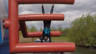 Download Guy Struggles to Get Through Obstacle Course Over Water Video