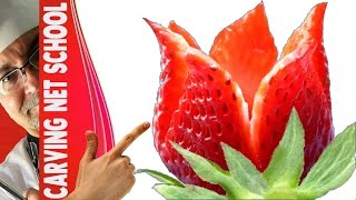 Download Arte em fruta, strawberry garnish, arte com morangos, decoration with fruits, fruit carving Video