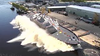 Download US Navy Launches New Warship Sideways Into Water — USS Billings Christening and Launch Video