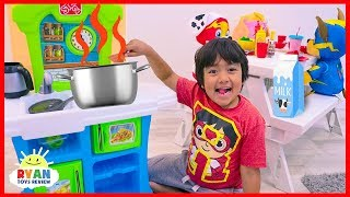 Download Ryan Pretend Play Kitchen Food Toys with Mighty Pups Paw Patrol! Video